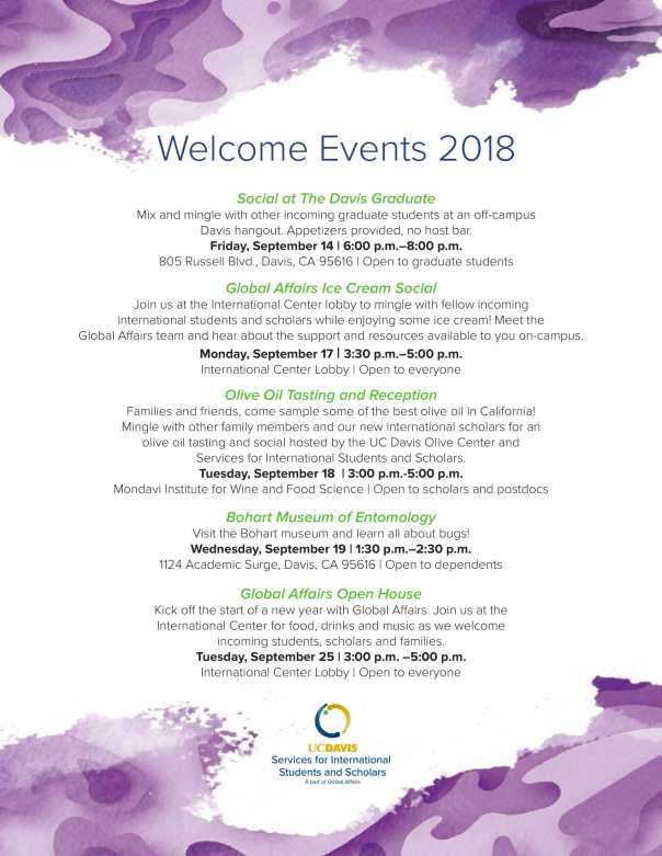 Welcome Events 2018